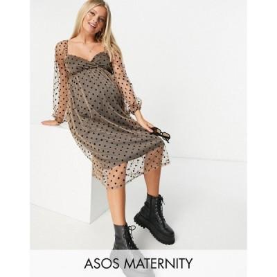 エイソス ASOS Maternity レディース ワンピース マタニティウェア ミドル丈 ASOS DESIGN Maternity sweetheart midi dress in flock spot マルチカラー