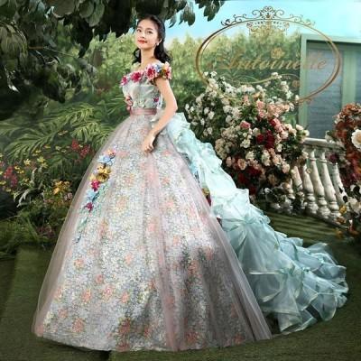 メルヘン ウェディング 結婚式 ドレス かわいい 海外ドレス  数量限定生産 バースデーイベント キャバドレス ホステス フリル ゴージャス