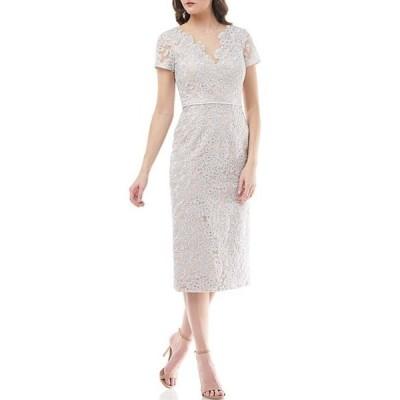 ジェイエスコレクションズ レディース ワンピース トップス Illusion V-Neck Embroidered Lace Sheath Dress