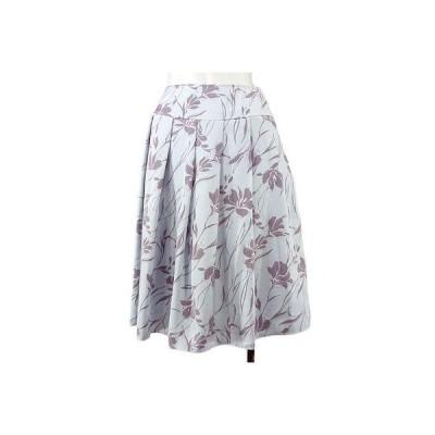 meo ブルー花柄フレアースカート