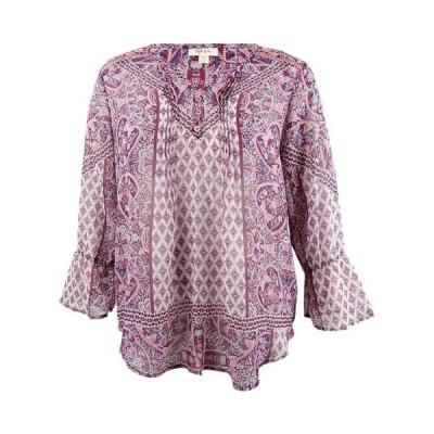 レディース 衣類 トップス Style & Co. Women's Plus Size Mixed-Print V-Neck Peasant Top ブラウス&シャツ