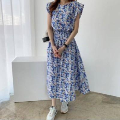2色 花柄 ワンピース ロング フレア ハイウエスト レトロ きれいめ 大人可愛い韓国 オルチャン ファッション