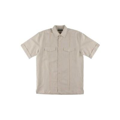 キューバベーラ カジュアルシャツ トップス ウエア Cubavera 8607 メンズ Beige Cuffed Sleeves Button-Down Top S BHFO
