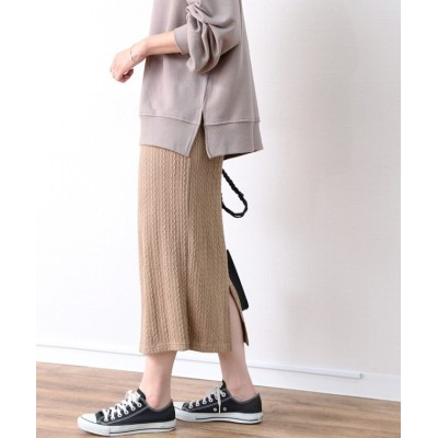 【レカ】 ケーブル編み風ナロースカート レディース モカ FREE reca