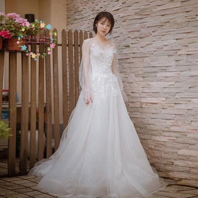 ウエディングドレス 結婚式 花嫁 ブライダル ウエディングドレス 安い 白 袖あり ロングドレス aライン 二次会 パーティードレス 演奏会 フォーマルドレス