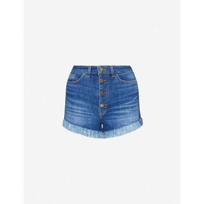 マージュ MAJE レディース ショートパンツ ボトムス・パンツ Irina fringed high-rise stretch-denim shorts BLUE