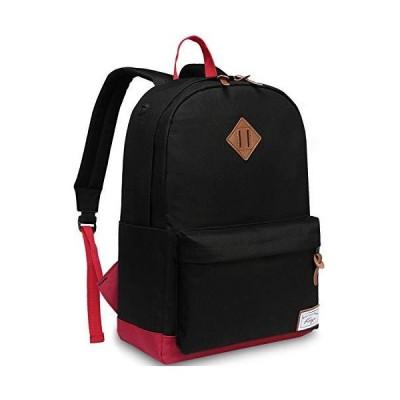 スクールバックパック、男性のためのカスコ防水クラシックリュックサックは、ティーンエイジャーBookbagブラックとレッドのための14インチのラップトッ