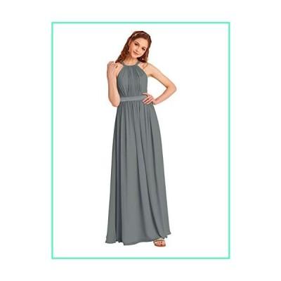 Alicepub Halter Bridesmaid Dress Long Chiffon Evening Maxi Gown for Women Special Occasion, Steel Gray, US10並行輸入品