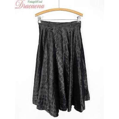 古着 レディース ヴィンテージ スカート 50~60s アセテート 花 フロッキー刺繍 サーキュラー スカート 古着