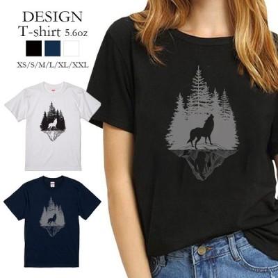 Tシャツ レディース 半袖 トップス 狼 ウルフ WOLF 森 山 シルエット 遠吠え クルーネック プリントTシャツ
