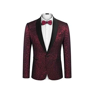 COOFANDY メンズ 花柄スーツジャケット ワンボタン スタイリッシュ ジャカード ディナージャケット タキシード ブレザー 結婚式 パーティー