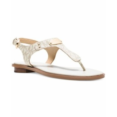 マイケルコース レディース サンダル シューズ MK Plate Flat Thong Sandals Vanilla
