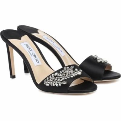 ジミー チュウ Jimmy Choo レディース サンダル・ミュール シューズ・靴 stacey 85 embellished satin sandals Black