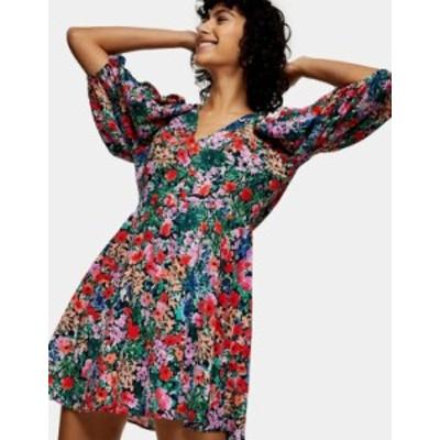 トップショップ レディース ワンピース トップス Topshop volume sleeve mini dress in multi Multi