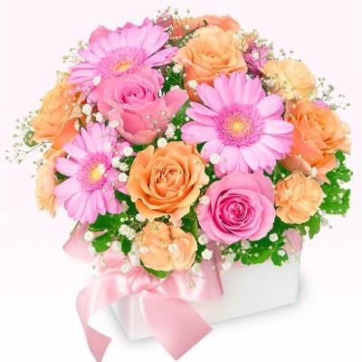 10月の誕生花(オレンジバラ) 花 ギフト 誕生日 お祝い 記念日 花キューピットのピンク&オレンジのキューブアレンジメント