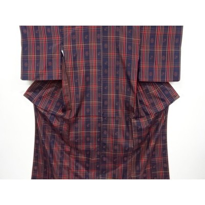 リサイクル 琉球絣柄織り出し米沢紬着物アンサンブル