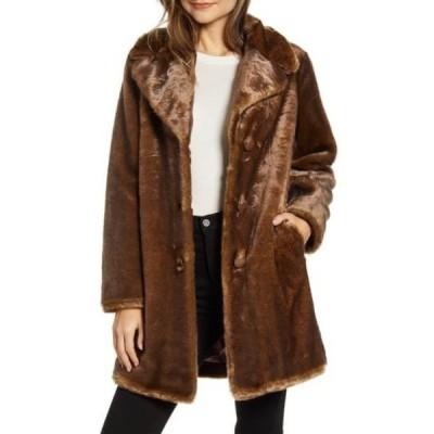 ケイト スペード レディース ジャケット&ブルゾン アウター faux fur button front coat MOCHA