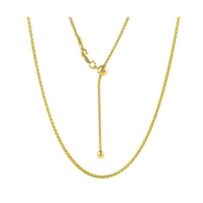 Sterling Silver 1.4MM Diamond Cut Adjustable Wheat Chain Necklace 24'