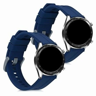 kwmobile 対応: Huawei Watch GT (46mm) 交換バンド - 2x 替えベルト TPU シリコン バンド 紺色