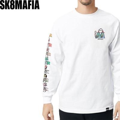 スケートマフィア SK8MAFIA スケボー ロングTシャツ LUCAS BEAUFORT x SK8MAFIA L/S TEE ホワイト NO3