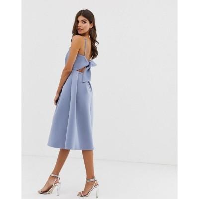 エイソス レディース ワンピース トップス ASOS DESIGN bow back midi prom dress Blue