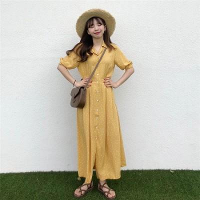 夏服先取り!   韓国ファッション 百掛け ラペル シンプル エレガント 単体ボタン おしゃれな ドット ロングスカート トレンド ロングセクション 半袖 ワンピース 気質