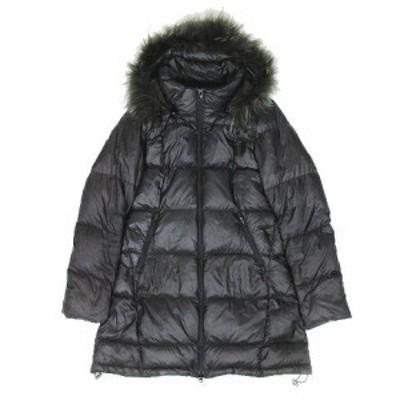 【中古】ゴールデンベア GOLDEN BEAR ダウンジャケット コート ミディアム丈 ファーフード アウター M 黒 ブラック