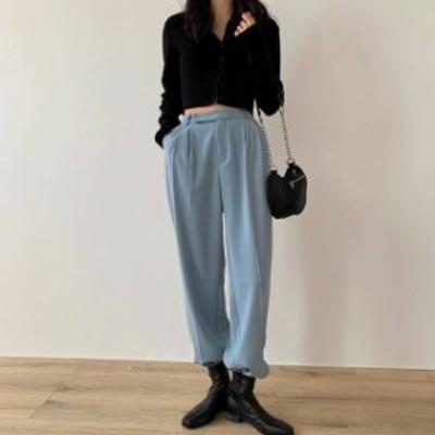 3色 ワイドパンツ ロングパンツ ボトムス ハイウエスト 無地 シンプル カジュアル マニッシュ 大人可愛い 韓国 オルチャン ファッション