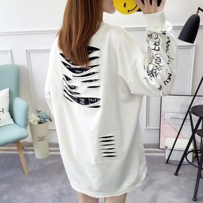 中学生 高校生 ファッション BIG tシャツ トレーナー 10代 韓国 おしゃれ 大きいサイズ レディース プルオーバー パーカー ダメージ ダンス 2163