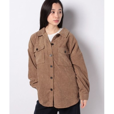 【インタープラネット】 コーデュロイシャツジャケット レディース キャメル 002 INTERPLANET