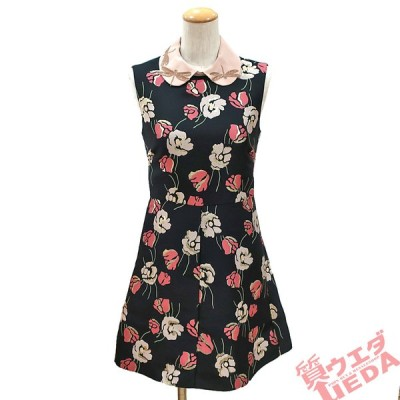 【栄】レッドヴァレンティノ ワンピース 花柄 とんぼ 黒 ピンク 38 ノースリーブ フレア アパレル 女 服