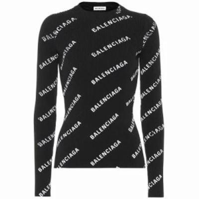 バレンシアガ ニット・セーター Logo-printed sweater black/white