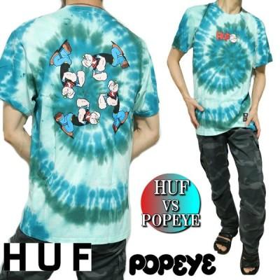 HUF/ハフ ポパイ/Popeye コラボ Tシャツ メンズ 半袖 タイダイ染め プリント メンズファッション トップス カットソー