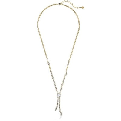 Nicole Miller Cushion Mixed Stone Long Gold/ Clear Y-Shaped Necklace,