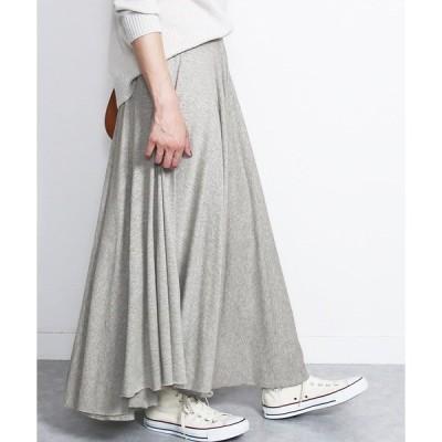 スカート たっぷりフレアウエストゴム切りっぱなしロングスカート
