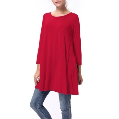 レディース 衣類 トップス LELINTA Fashion Womens Plus Size T-Shirt 3/4 Sleeve Loose Fit Casual Round Neck Basic Tops Leisure Blouse