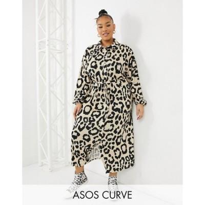 エイソス レディース ワンピース トップス ASOS DESIGN Curve midi shirt dress in leopard print