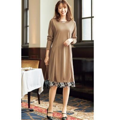 【大きいサイズ】 ビジュー付裾レース切替カットソーワンピース(オトナスマイル) ワンピース, plus size dress