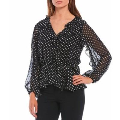 カルバンクライン レディース シャツ トップス Clip Dot Chiffon Ruffle Trim V-Neck Long Sleeve Side-Tie Blouse Black/Blush Multi