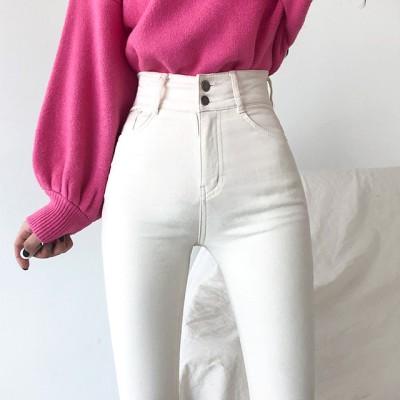 [BeiDelli]韓国NO.1女性のファッション! 2color! / 【ハイウエスト/ 裏起毛】足首までももちもちぴったりとしたツーボタンスパンスキニーパンツ / 韓国ファッション