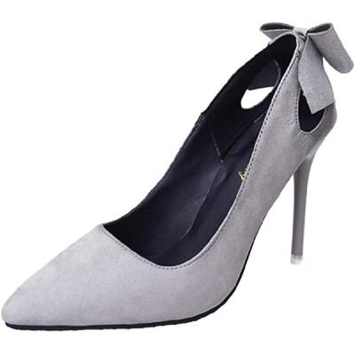 ヒール パンプス おしゃれ レディース シューズ 靴 ピンヒール ハイヒール フォーマル 結婚式(グレー, 23.5〜24.0 cm)