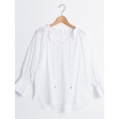le.coeur blanc ローンギャザーブラウス(ホワイト)