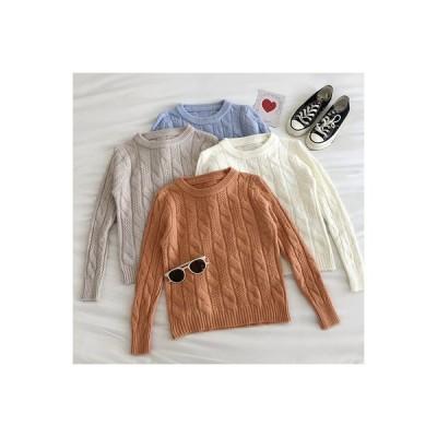 【送料無料】シンプル 単一色 ツイスト 紋 セーターの女性 秋 新品 韓国風 学生 何でも似合う 丸 | 346770_A63642-6581806