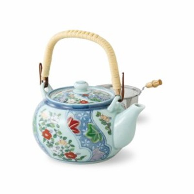 《670cc》取っ手付きのステンレス網茶こし付き土瓶型急須 花流水 長崎県産 波佐見焼(はさみやき)お茶 緑茶 おもてなし 法人