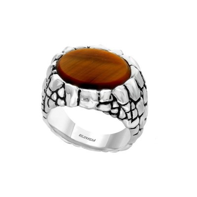 エフィー メンズ リング アクセサリー Sterling Silver Tiger's Eye Ring - SIze 10 ORANGE