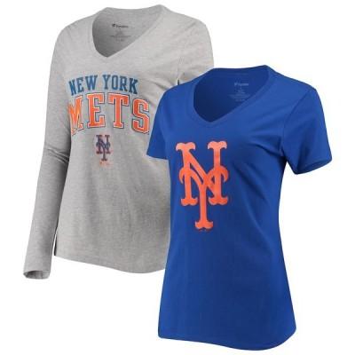 ファナティクス Tシャツ トップス レディース New York Mets Fanatics Branded Women's V-Neck T-Shirt Combo Set Royal/Gray