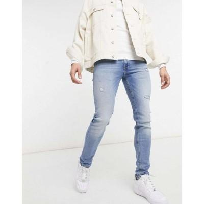ジャックアンドジョーンズ スキニー ジーンズ メンズ Jack & Jones Intelligence Liam skinny jeans with rips in light blue エイソス ASOS ブルー 青