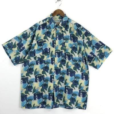 【古着】 Carlo 総柄シャツ シルクシャツ ペイント風 ヴィンテージ 半袖 マルチカラー メンズXL 【中古】 n025019