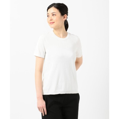 ICB(大きいサイズ) HiTwist Cotton 半袖ニット (ホワイト系)