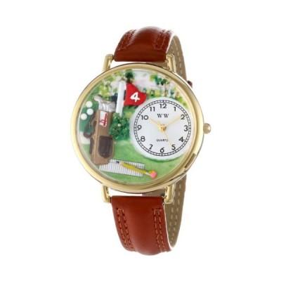ゴルフ 茶色レザー ゴールドフレーム時計 #G0810002